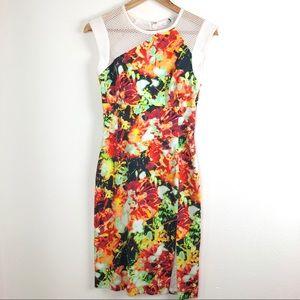 Black Halo Neon Floral Dress